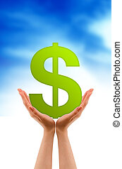 Hand and dollar sign - Hands holding a dollar sign on cloud ...