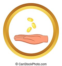 Hand and falling coins vector icon in golden circle, cartoon...