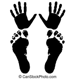 hand and feet of a man isolated on white background, vector