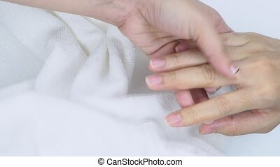 Hand and finger massage with conditioning primer oil. Hand ...