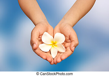 Hand, and flowers.