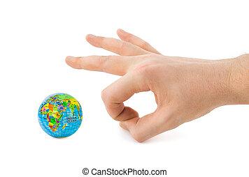 Hand and globe