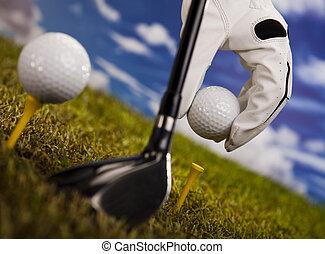 Hand and golf ball