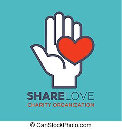 Hand and heart social love and charity organization concept vector flat icon