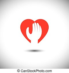 hand and heart together - vector icon for trust & faith