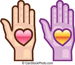 Hand and Heart vector icon