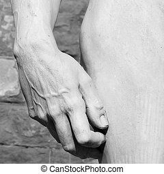 hand and hip detail of David sculptured by Michelangelo -...