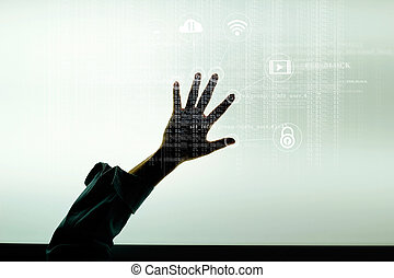 Hand and icon lock. Network connection with a code digital on screen. Cyber security concept