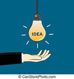 hand  and idea light bulb