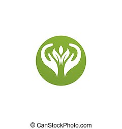 hand and leaf green Logo Template vector