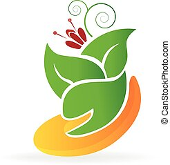 Hand and leafs flower care logo vector image