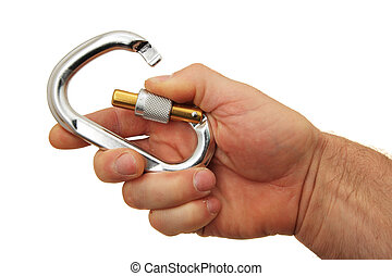 hand and locking carabiner - a man's hand holding a locking...