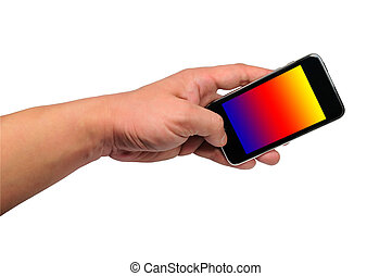 Hand and mobile phone