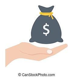 Hand and money bag