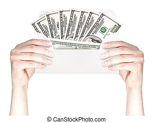 Hand and money in envelope isolated