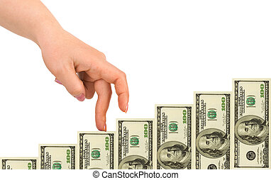 Hand and money staircase
