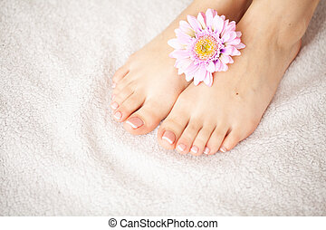 Hand and Nail Care. Beautiful Women's Feet and Hands After Manicure and Pedicure at Beauty Salon. Spa Manicure