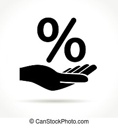 hand and percentage icon
