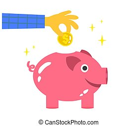 Hand and piggy bank on a white background. Vector