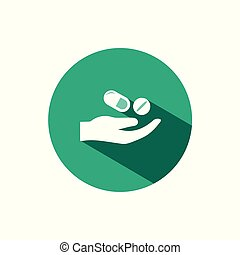 Hand and pills icon with shadow on a green circle. Vector pharmacy illustration