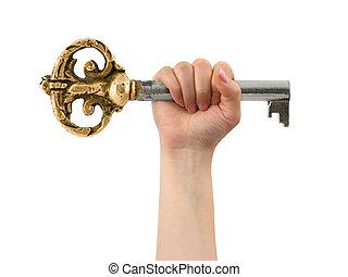 Hand and retro key