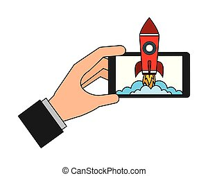 hand and smartphone with startup rocket vector illustration design