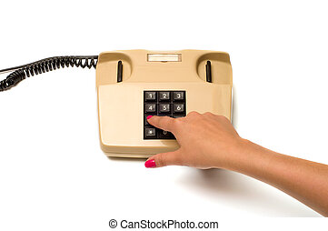 Hand and telephone.