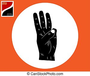 hand and three fingers extended upwards