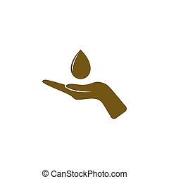 Hand and water drop icon