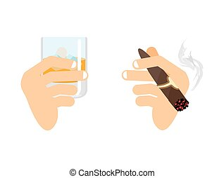 Hand and whiskey with ice. glass of scotch, bourbon. Arm with cigar isolated. Men and holding smoke cigarette. Finger and Havana