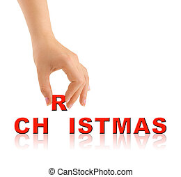 Hand and word Christmas