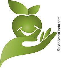 hand, apple