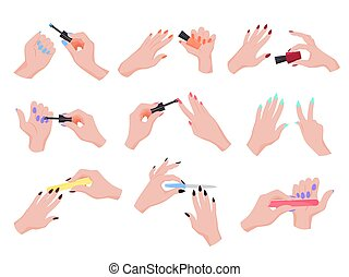 Hand applying nail polish set. Collection of hand making manicure