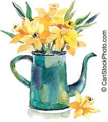 hand, aquarell, karte, gezeichnet, design, kaffeekanne, flowers.