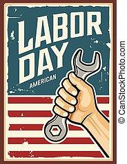 hand, arbeid, ontwerp, moersleutel, vector, amerika, dag, vrolijke