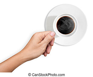 Hand are holding a cup of coffee