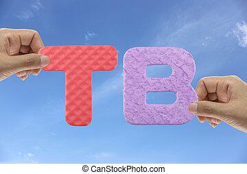 Hand arrange alphabet TB of acronym Team Bonus in system organizations management.