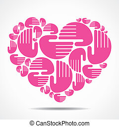 hand arrange in heart shape stock vector