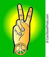 hand as a symbol of peace on a green background