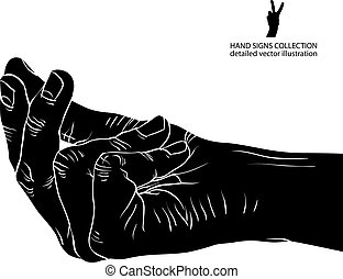 Hand asking about payment, detailed black and white vector illus
