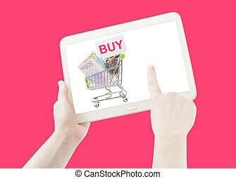 hand, ausstellung, einkaufswagen, kaufen, liste, auf, a, pc, tablette, isolated., rosafarbener hintergrund