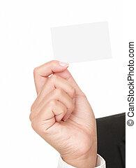 hand, ausstellung, geschäftskarte