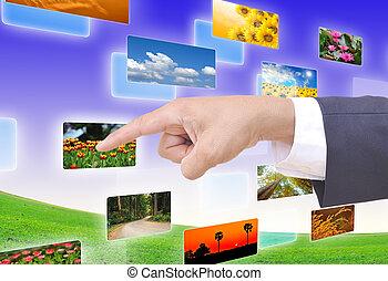 hand, auswählen, bilder, strömend, von, tiefe