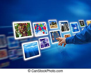 hand, auswahl, bilder, fließen