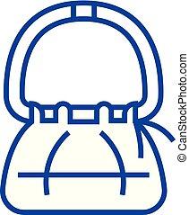Hand bag line icon concept. Hand bag flat vector symbol, sign, outline illustration.