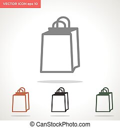 hand bag vector icon isolated on white background