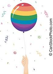 Hand Balloon Celebrate LGBT Illustration - Illustration of a...