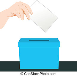 Hand Ballot Voting - Hand putting a paper ballot voting on a...