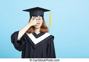 hand, bang, dekking, meisje, eyes, afgestudeerd