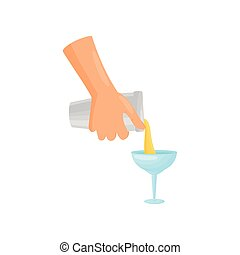 Hand barman pours a glass of margarita. Vector illustration.
